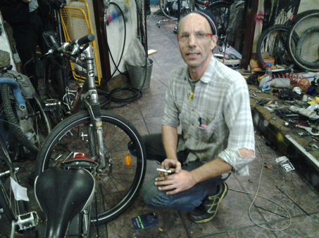 Wolfgang Mrosek runs a bicycle shop in Berlin-Neukölln, where he sells bicycles at cost.